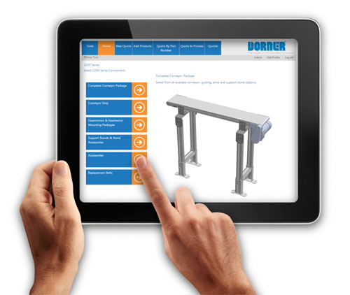 dorner s dtools conveyor configurator and cad site now optimized for tablet. Black Bedroom Furniture Sets. Home Design Ideas
